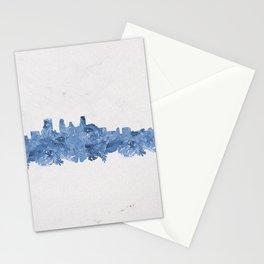 Minnepolis Minnesota Skyline Florals Blue Stationery Cards