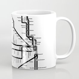Chicago CTA Map, Chicago Map Art, CTA Art, Chicago Wall Art, Chicago Art, L Train, Art Print Coffee Mug