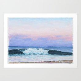 Full Moon Surf Art Print