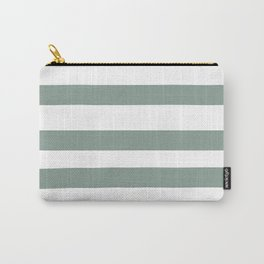 Valspar America Sea Green - Green Water - Zinc Blue Hand Drawn Fat Horizontal Stripes on White Carry-All Pouch
