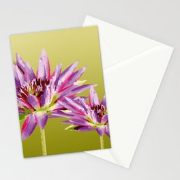 Water Lilies violet green Stationery Cards