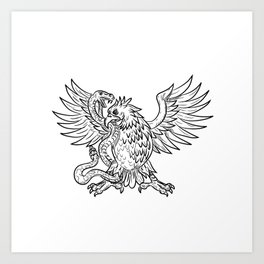 Mexican Eagle Fighting Rattlesnake Drawing Black and White Art Print