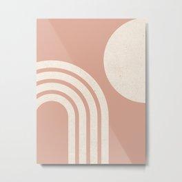 Mid Century Modern Dust Pink Sun & Rainbow Metal Print