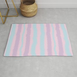 Pink Purple and Blue Jiggly Pastel Line Pattern Rug