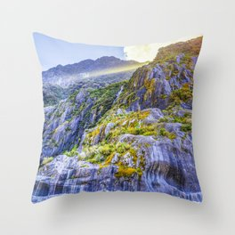 Beautiful curvy rock formations carved by the retreat of Franz Josef Glacier, South Island, New Zealand Throw Pillow