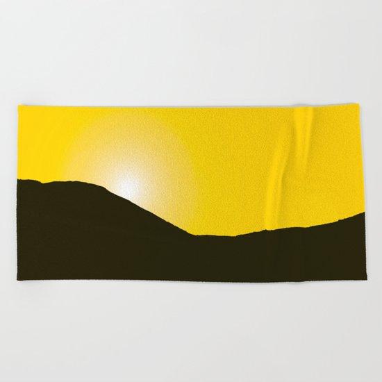 Mountain silhuette - sunrise sky - black rockymountain on yellow background - #Society6 #buyart Beach Towel