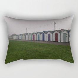 Preston Beach Huts On A Foggy Morning Rectangular Pillow