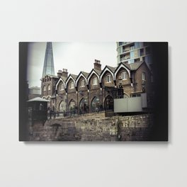 Shard in Background of Tower of London Gift Shop Historic Building England Metal Print