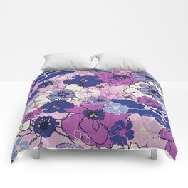 Red Violet and Navy Anemones Comforters