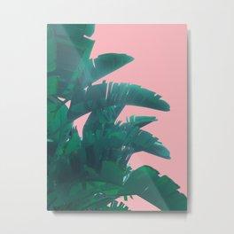 Banana Leaves on pink Metal Print