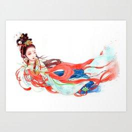 Watercolor Chinese Beauty -  Feitian Art Print