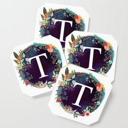 Personalized Monogram Initial Letter T Floral Wreath Artwork Coaster