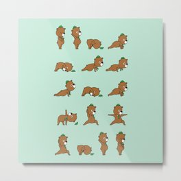 Yoga Bear Metal Print