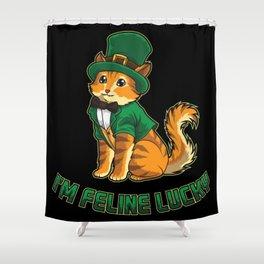 Lucky Kitten - I'm Feline Lucky - Irish Cat Shower Curtain