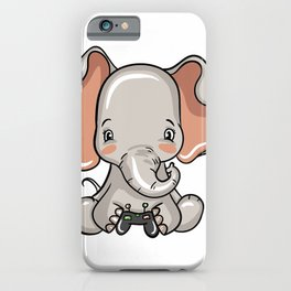 Funny Cool Gaming Elephant Gift Video Gamer Gift T-Shirt iPhone Case