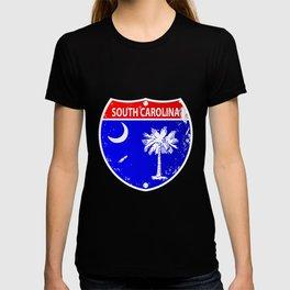 South Carolina Flag Icons As Interstate Sign T-shirt