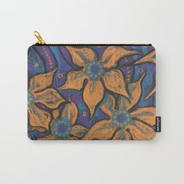 Golden flowers, decorative painting, pastel, floral motive Carry-All Pouch