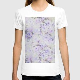 Vintage lavender gray botanical roses floral T-shirt