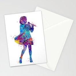 Singer Girl Art Colorful Blue Purple Artwork Artist Gift Kids Room Decor Stationery Cards