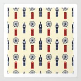 London Big Ben,Red British phone box Art Print
