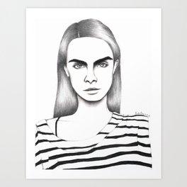 Cara Delevingne Art Print