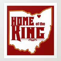 lebron Art Prints featuring Home of the King (Red) by Denise Zavagno