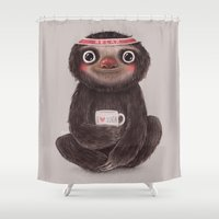 yoga Shower Curtains featuring Sloth I♥yoga by Lime