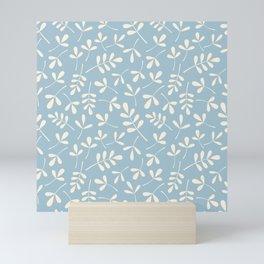Cream on Blue Assorted Leaf Silhouette Pattern Mini Art Print