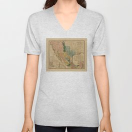 Map of Mexico by Henry Tanner (1846) Unisex V-Neck