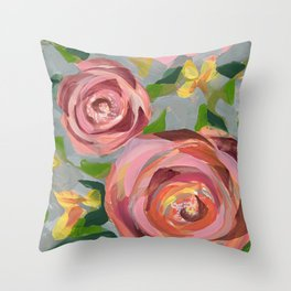 Platinum Rose Throw Pillow