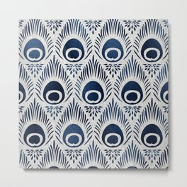 Peacock Damask Bohemian Indigo Denim Metal Print