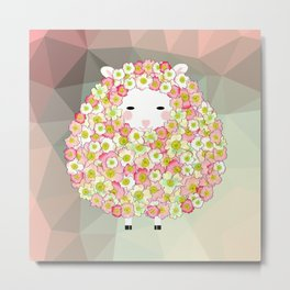 Pastel Tone Flowery Sheep Design Metal Print