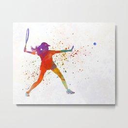 Woman tennis player 01 in watercolor Metal Print