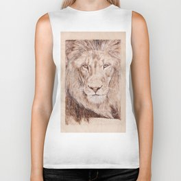 Lion Portrait - Drawing by Burning on Wood - Pyrography Art Biker Tank