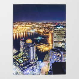 Voyeuristic 1719 Vancouver Cityscape Space Craft - Waterfront Convention Center Gastown BC Canada Poster