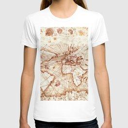 Vintage route map of the world - Leonardo Da Vinci T-shirt