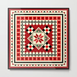 Embroidery Romanian Motifs Metal Print