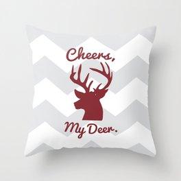 Cheers, My Deer. Throw Pillow