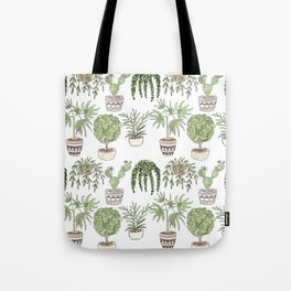 Watercolor cartoon sketch house plants in pots Tote Bag