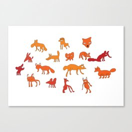 Weird Foxes Canvas Print