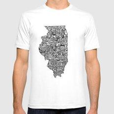 Typographic Illinois MEDIUM White Mens Fitted Tee