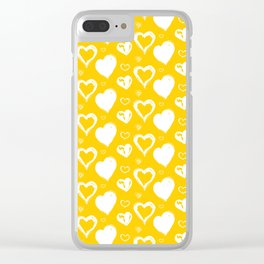 Handdrawn Hearts (Yellow/White): an exciting, fresh, fun pattern to light up your day Clear iPhone Case