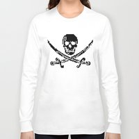 8bit Long Sleeve T-shirts featuring 8bit piracy  by cadaver138