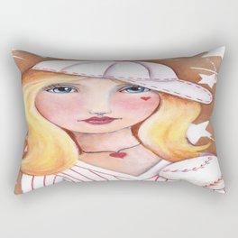 Whimsical Baseball Girl Rectangular Pillow