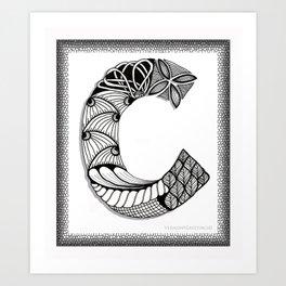 Zentangle C Monogram Alphabet Initials Art Print