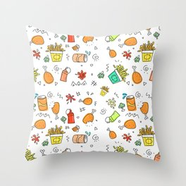 Fast Food Pattern Throw Pillow