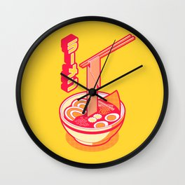 Japanese Ramen Isometric - Yellow Solid Wall Clock