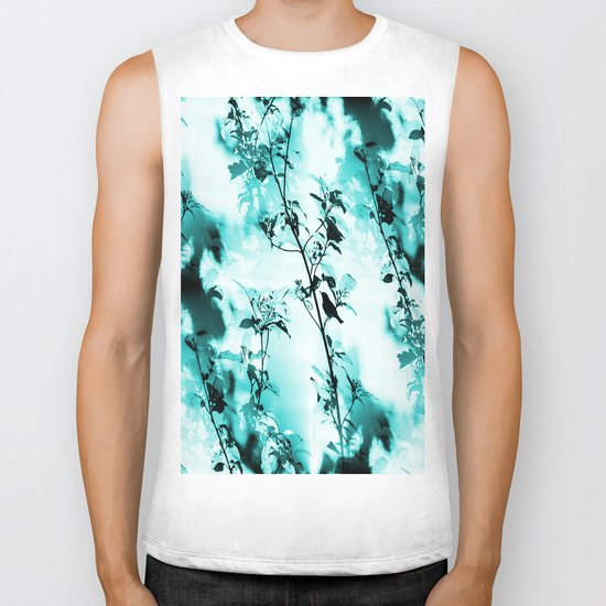 Silhouette of songbird on a branch in turquoise variation  Biker Tank