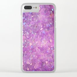 Sparkly Pinky Purple Aura Crystals Clear iPhone Case