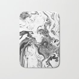 Suminagashi 1 black and white marble spilled ink ocean swirl watercolor painting Bath Mat